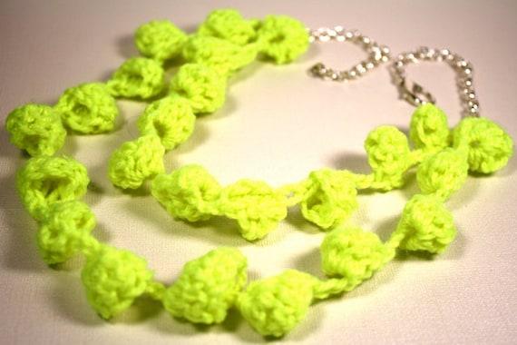 Neon Crochet Bobble Necklace Crafted Fashion Gift under 50 Bright Retro