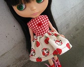 Blythe Party Dress - Kawaii Strawberry Face