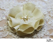 Handmade fabric flower Nr 6, for bridal bouquet, pomander, wedding decor, corsage, sash - champagne, beige, ivory