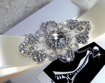 Rhinestone applique, Crystal applique, beaded applique for DIY wedding sash, garter, headband, headpiece