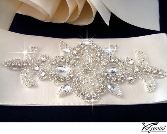 Rhinestone applique, ART DECO crystal applique, beaded wedding beaded patch for DIY wedding accessories.