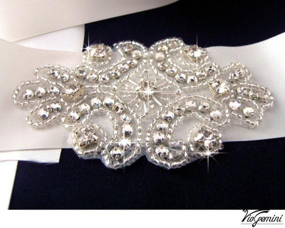 Crystal applique, rhinestone applique, wedding applique,  beaded patch for DIY wedding accessories