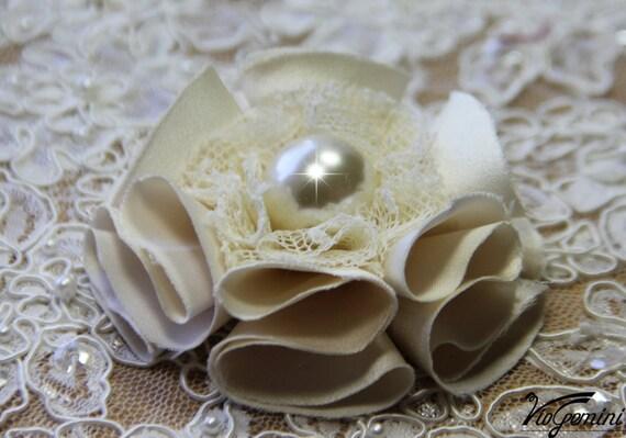 Handmade fabric flower , for bridal bouquet, pomander, wedding decor, corsage, sash - champagne, beige, ivory