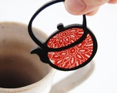 Teapot  Brooch - Vintage Kimono Fabric with Handpainted Sustainable Bamboo