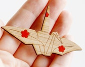 Peace Crane Brooch - Sustainable Bamboo and Hand Painted