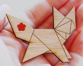 Origami Fox Brooch - Sustainable Bamboo and Hand Painted