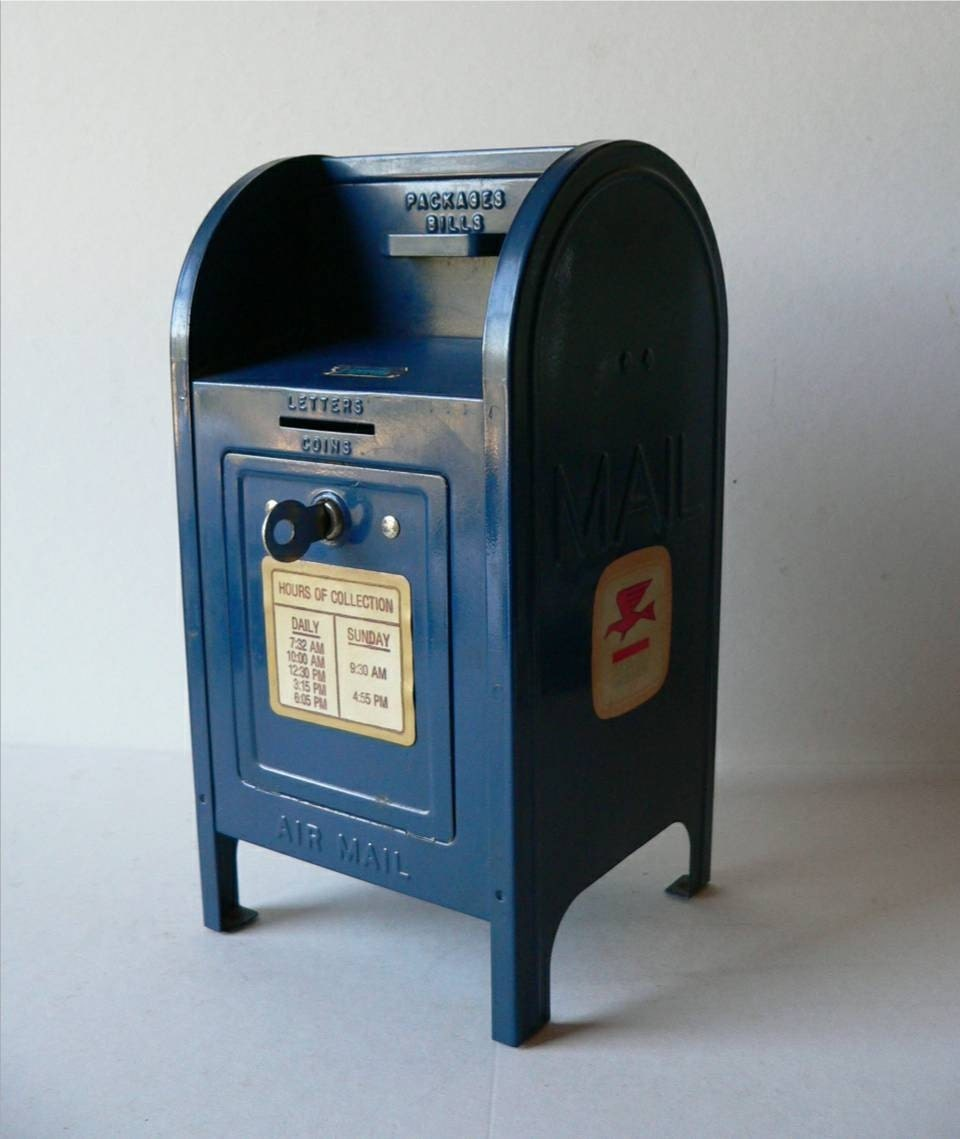 Vintage metal toy mailbox coin bank with key for What to do with old mailbox