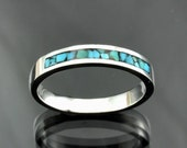 Mosaic Turquoise Inlay Silver Band