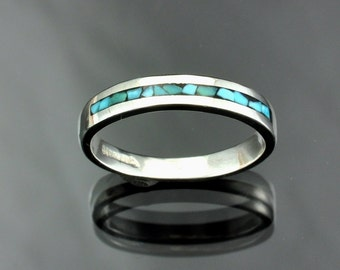 Silver Mosaic Turquoise Inlay Band