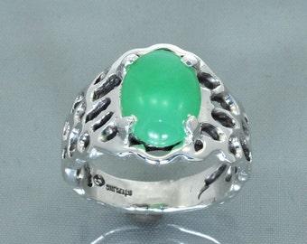 Chrysoprase Cab Silver Freeform Ring