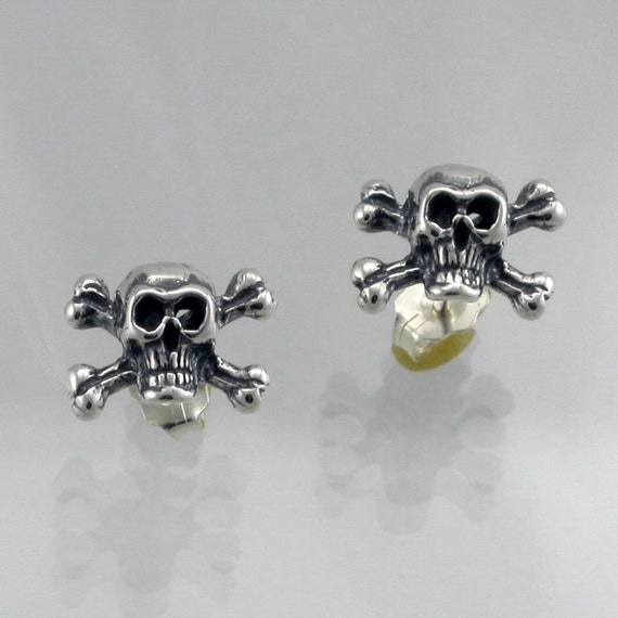 Sterling Silver Skull and X bone Earring