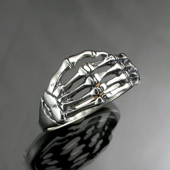 Sterling Silver Skeleton Hands Ring