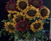 Three Primitive Sunflowers
