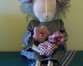 Grungy, Primitive Doll with Folk Art Flowers