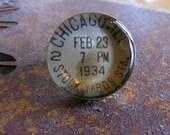 Vintage Paper Domed Resin Ring