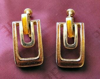 Mid century DG goldtone and orange enameled drop earrings