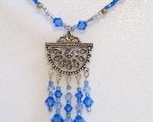 Blue Pendant Necklace,  Swarovski Crystal Beaded Pendant Necklace, Fancy Bali Silver Pendant