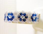 Blue Flower Bracelet, Blue White Glass Beaded Bracelet, Handwoven Flower Bracelet