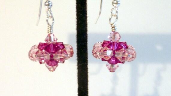 Pink Crystal Earrings, Rose Fuscia Swarovski Crystal Handwoven Earrings, Pink Tops