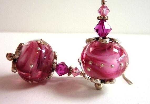 Raspberry Swirl Earrings, Magenta Pink Glass Beaded Earrings, Handmade Lampwork Earrings, Sterling Silver