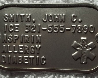 2 Hole MEDICAL Information Dog Tag Dogtag For Your Paracord Bracelet Personalized Custom  FREE SHIPPING