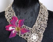 Arty and stylish poetic one of a kind fiber art necklace