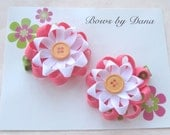 Hot Pink and White Button Flower Clippie Set M2MG Growing Flowers