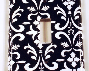 Light Switch Cover Wall Plates Single Switchplate  in  Black Damask (179S)