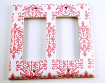 Light Switch Cover Wall Decor Switchplates  Double Rocker in Pink Damask (152DR)
