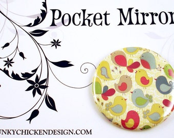 Pocket Mirror Cosmetic Purse Makeup Mirror in Chirp (PM22S)
