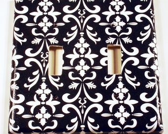 Light Switch Cover Switchplate Wall Decor  Double Light Switch Plate in Black Damask (179D)