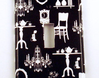 Switch Plate   Light Switch Plate   Parlour in Black  (192S)