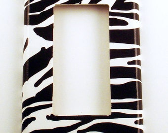 Switchplate   Single Rocker Light Switch Plate   Light Switch Cover in  Zebra  (086R)