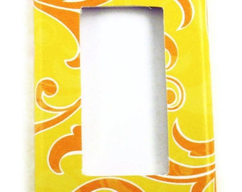 Light Switch Cover Yellow and Orange Wall Decor  Switch Plate Rocker GFCI Switch Plate  in Sunny Breeze  (131R)