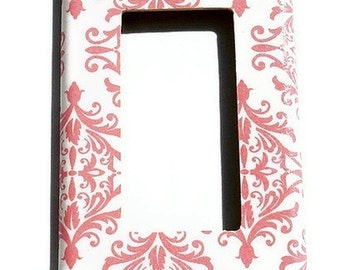 Light Switch Cover   Switch Plate Single Rocker Switchplate in Pink Damask  (152R)