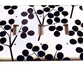 Triple Light Switchplate Wall Decor  Triple Light Switch Cover in  Black Berry (263T)