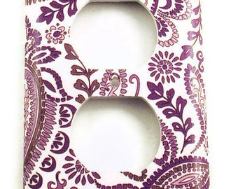 Light Switch Cover Wall Decor  Switchplate Outlet  in Purple  Paisley  (098O)