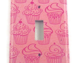 Light Switch Cover Pink Cupcake Wall Decor  Switchplate  Single  Light Switch Plate  in Patisserie (240S)