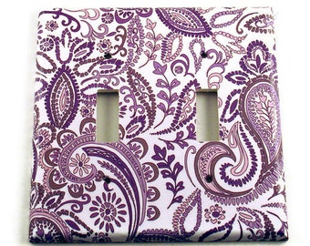 Light Switch Covers Wall Decor Double Switchplate Light Switchplates  in  Purple Paisley   (098D)