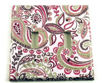 Switch Plate Wall Decor Light Switch Cover  Double Switchplate  in  Pink Paisley   (099D)