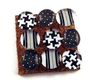 Decorative Push Pins Black and White Cork Board Pins in Cocktail Party   (P09)