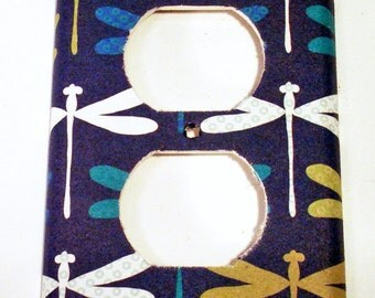 Light Switch Plate Wall Decor Switchplate Light Switch Outlet Cover in  Dragonfly Navy  (237O)