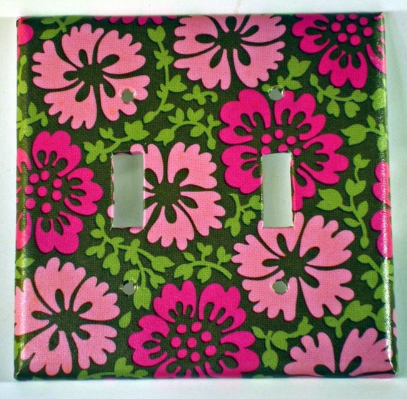 Wall Decor Light Switch Plate Switchplate Light Cover in   Cherry Blossom   Double (303D)