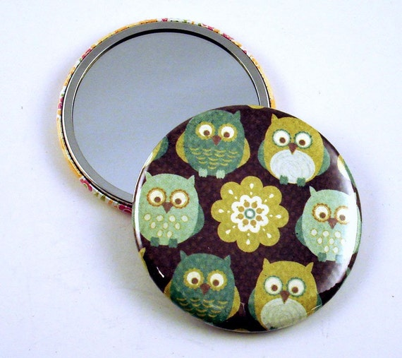 Handmade Owl Pocket Mirror Cometic Purse Makeup Mirror in  Hoo Loves You  (PM1)