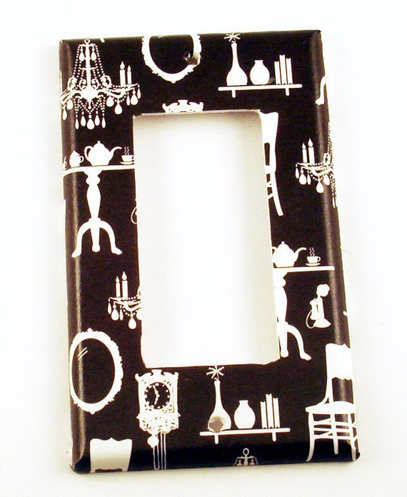Light Switch Cover Switch Plate  Wall Decor  Rocker  Parlour in Black  (192R)