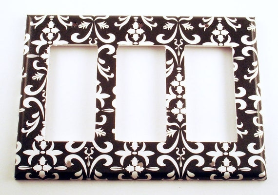 Light Switch Cover Wall Decor Switch Plate Triple Rocker  Plate in Black Damask ( 179TR)