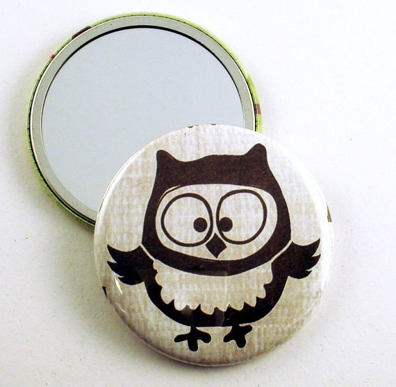 Handmade Pocket Mirror Purse Cosmetic Makeup Mirror  in  Owl Pals  Olivia