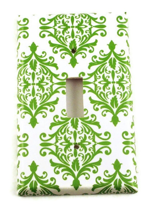 Light Switch Cover Wall Decor  Green Damask Single Toggle Switchplate (204S)