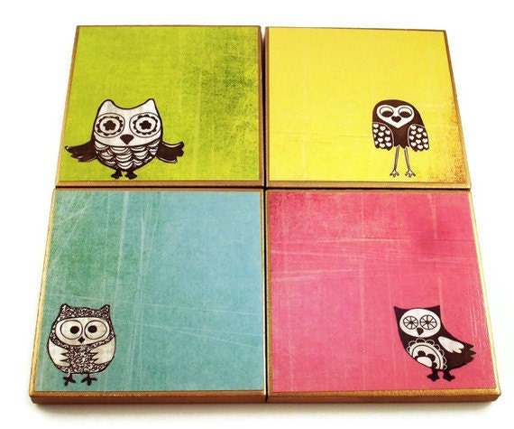 Coasters    Tile Coaster  Drink Coasters Coaster Set in  Owl Pals