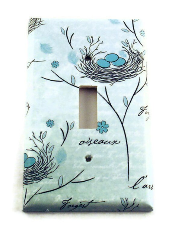 Decorative Wall Light Covers : Light switch cover wall decor switchplate in birds nest
